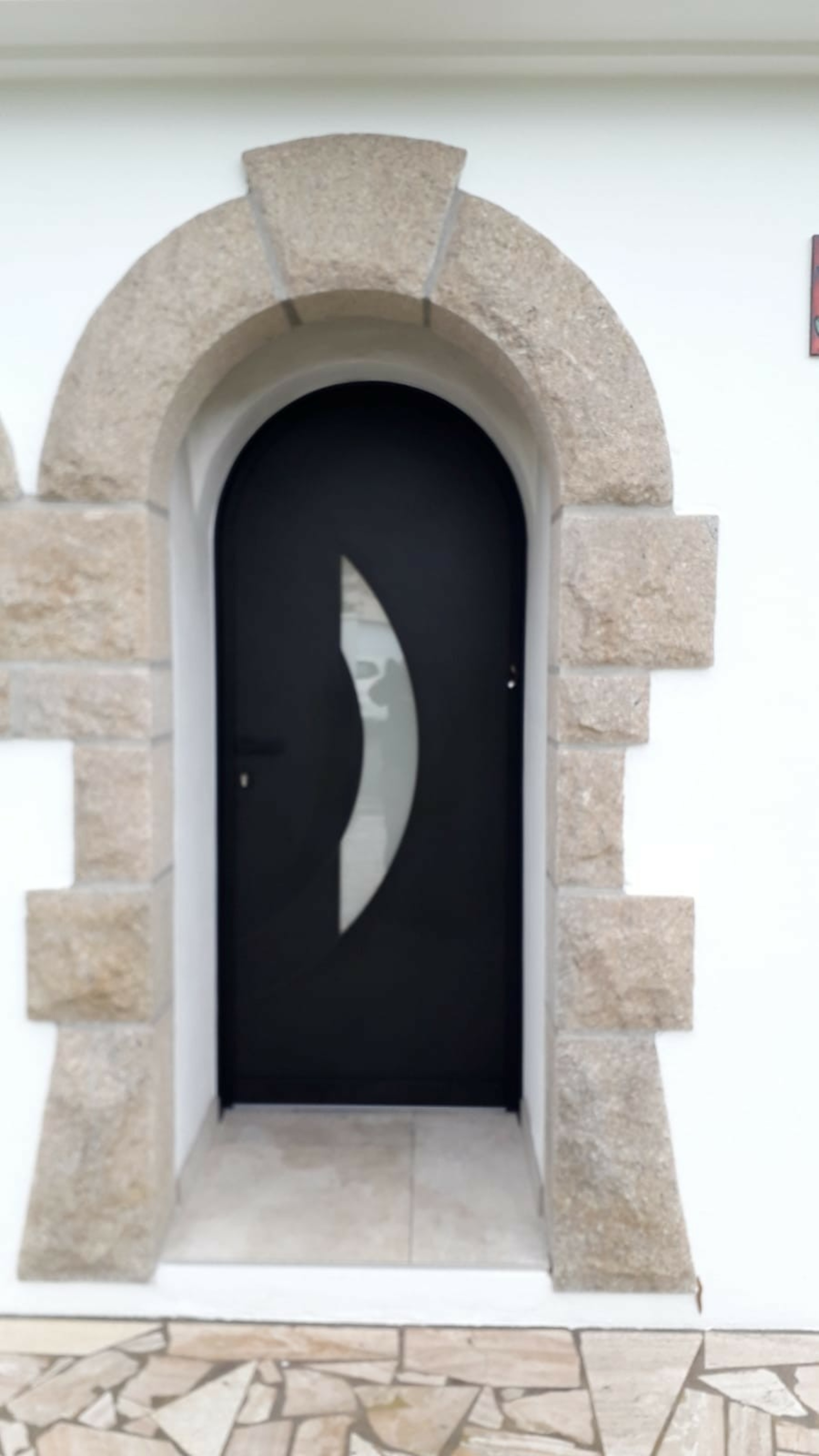Pose porte d''entrée noir - Larmor plage